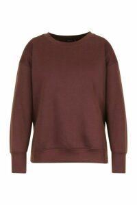Womens Plus Split Side Sweat Shirt - Brown - 20, Brown