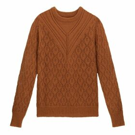 Pointelle Knit Openwork Jumper with Round Neck