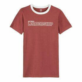 Cotton Slogan Print T-Shirt with Short Sleeves