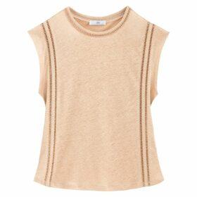 Linen T-Shirt with Spoke Stitching