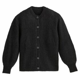 Glittered Buttoned Cardigan with Balloon Sleeves and Round Neck