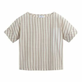 Striped Cotton Boat Neck Blouse