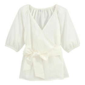 Cotton/Linen Wrapover Blouse with 3/4 Length Sleeves