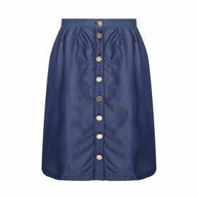 High-Waisted Chambray Skirt