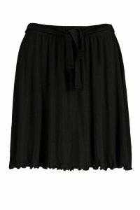 Womens Tie Waist Jersey Skater Skirt - Black - 16, Black
