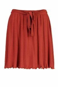 Womens Tie Waist Jersey Skater Skirt - Orange - 16, Orange
