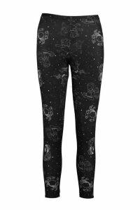 Womens Horoscope Print Leggings - Black - 16, Black