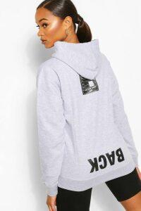 Womens Back Print Slogan Hoodie - Grey - 14, Grey