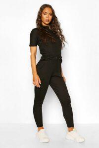 Womens Bandage Boxy Tshirt + Jogger Set - Black - 10, Black