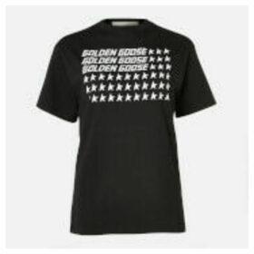 Golden Goose Deluxe Brand Women's T-Shirt Golden - Black/Flag