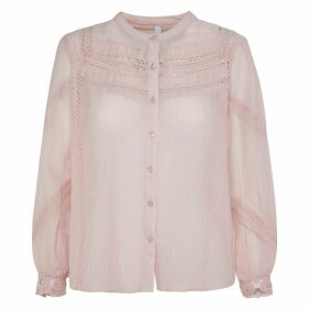 Embroidered Cotton Mix Buttoned Blouse