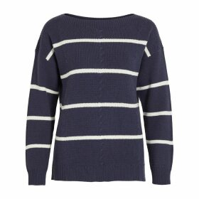 Striped Cotton Mix Jumper in Fine Knit with Boat Neck