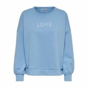 Printed Motif Cotton Sweatshirt with Round Neck
