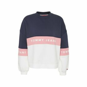 Printed Logo Cotton Mix Sweatshirt with Round Neck