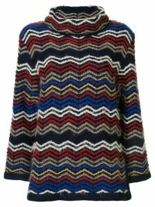 Yves Saint Laurent Pre-Owned roll neck zig-zag pattern jumper - Blue