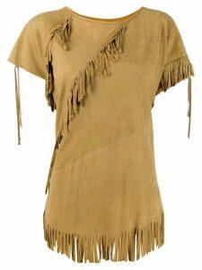 A.N.G.E.L.O. Vintage Cult 1970s fringed trim T-shirt - NEUTRALS