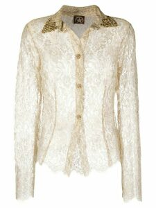 A.N.G.E.L.O. Vintage Cult 2000s sheer lace shirt - NEUTRALS