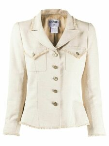 Chanel Pre-Owned 2006 frayed trim jacket - NEUTRALS