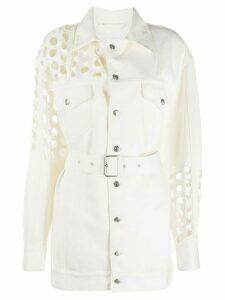 Maison Margiela punch hole denim belted jacket - White