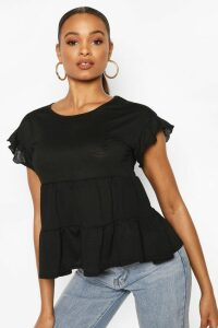 Womens Scoop Neck Ruffle Smock Top - Black - 12, Black