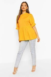 Womens Ribbed Puff Sleeve Smock Top - Yellow - 16, Yellow