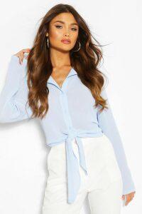 Womens Tie Front Shirt - Blue - 14, Blue