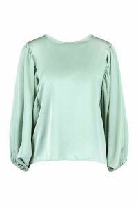 Womens Satin Extreme Balloon Sleeve Blouse - Green - 16, Green