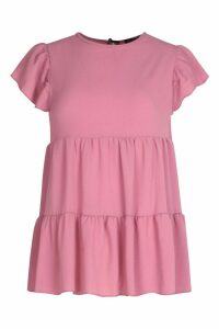 Womens Tiered Fril Detail Smock Top - Purple - 16, Purple