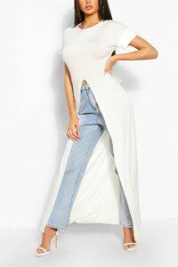 Womens Split Front Maxi T-Shirt - White - 16, White