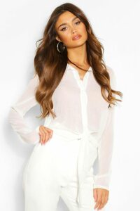 Womens Tie Front Shirt - White - 14, White