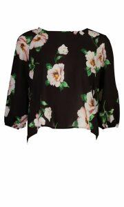 Womens Floral Print Batwing Sleeve Blouse - Black - 14, Black