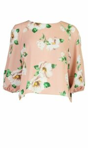 Womens Floral Print Batwing Sleeve Blouse - Pink - 14, Pink