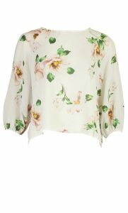 Womens Floral Print Batwing Sleeve Blouse - White - 14, White