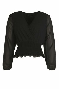 Womens Shirred Wrap Blouse - Black - 16, Black