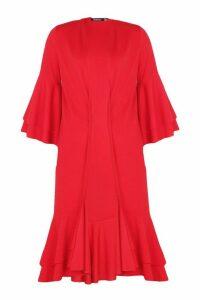 Womens Ruffle Sleeve & Hem Kimono - Red - 16, Red