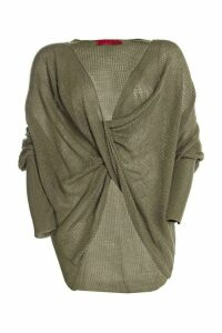 Womens Plus Wrap Front Knitted Jumper - Green - 26, Green