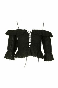 Womens Broderie Anglais Cold Shoulder Ruffle Blouse - Black - 16, Black