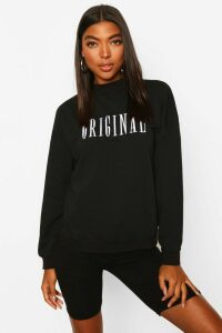 Womens Tall Embroidered 'Original' Slogan Sweatshirt - Black - 18, Black