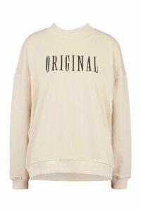 Womens Tall Embroidered 'Original' Slogan Sweatshirt - Beige - 16, Beige