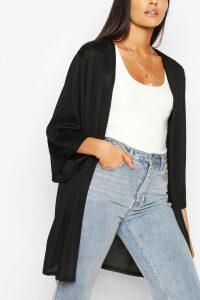 Womens Tall Ribbed Kimono - Black - 18, Black