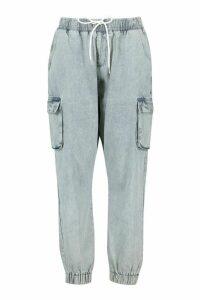 Womens Plus Denim Cargo Jeans - Grey - 20, Grey