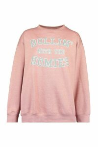 Womens Rolling With The Homies Slogan Oversized Sweatshirt - Pink - M, Pink