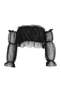 Womens Petite Shimmer Organza Bardot Crop Top - Black - 10, Black