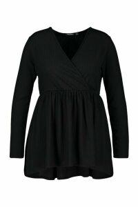 Womens Plus Wrap Dipped Back Tunic Jersey - Black - 24, Black