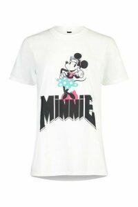 Womens Disney Minnie Band Tee - White - M, White