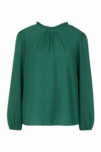 Womens Frill Neck Long Sleeve Woven Blouse - Green - 8, Green