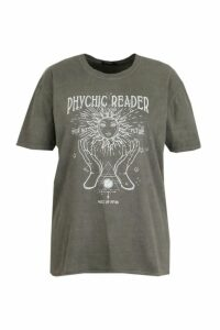 Plus Acid Wash Psychic T-Shirt - Black - 20, Black