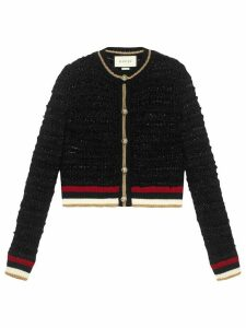 Gucci Knitted cardigan with Web - Black