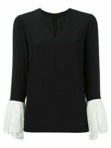 Saint Laurent contrasting bell sleeve blouse - Black