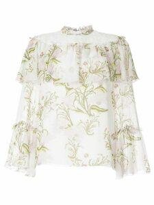 Giambattista Valli floral printed ruffle detail blouse - White